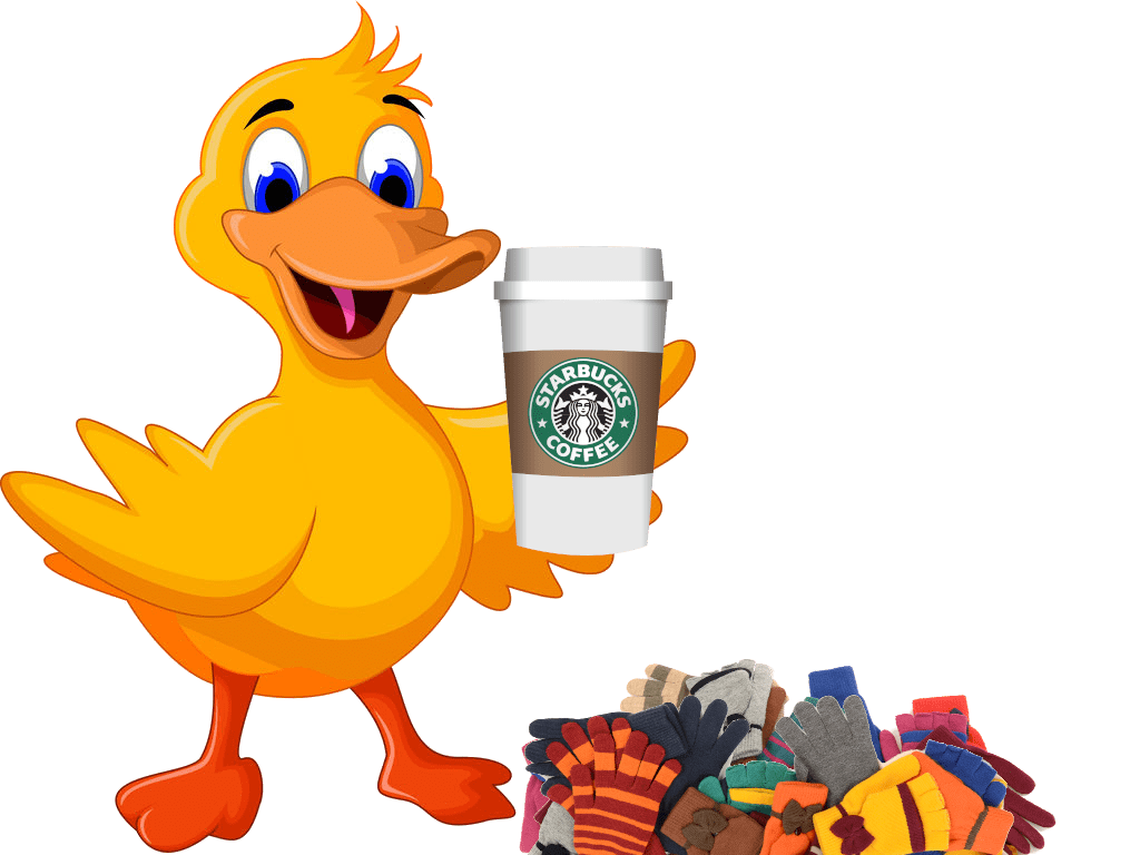 Same vector graphic of a cartoon duck holding a to-go cup of coffee this time with a starbucks logo on it still next to that same horribly-photoshopped pile of 14 gloves