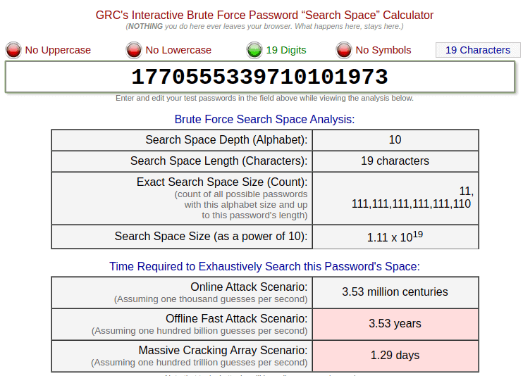 Screenshot from grc's password haystacks showing an analysis of a long password with only numbers