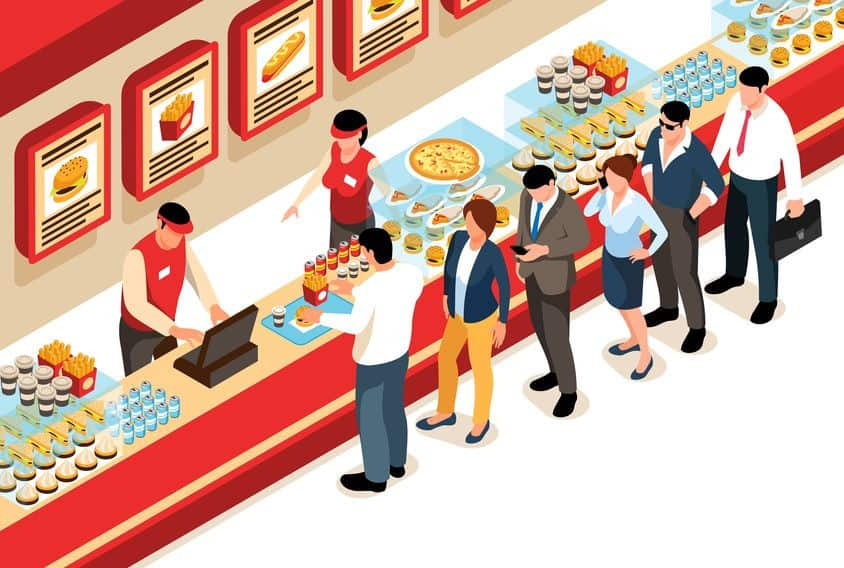 Vector graphic of generic fast food process including two worker figures and six various customer figures