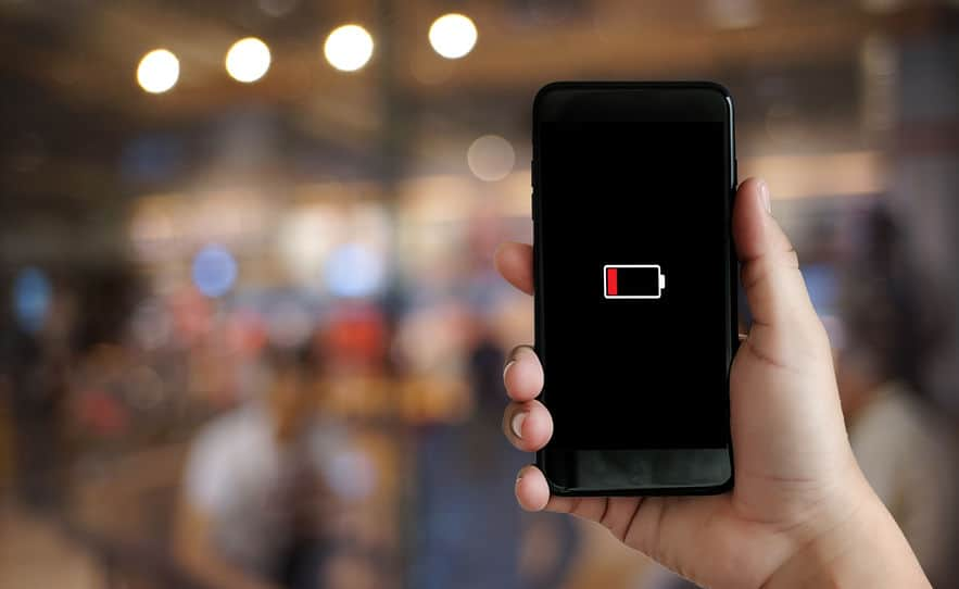 Dead smartphone battery because you need to quit social media