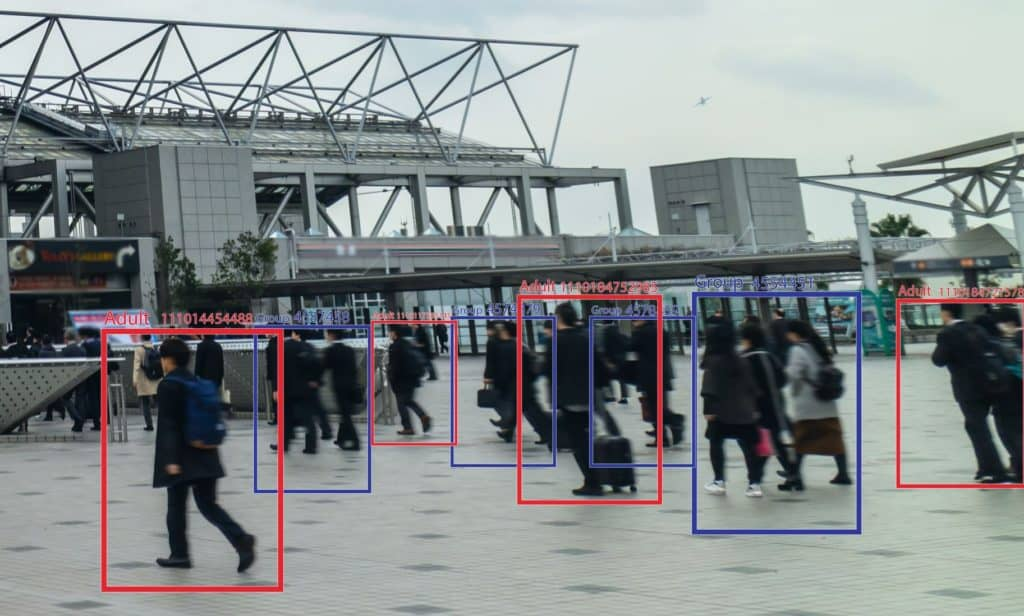 Video surveillance of plaza tracking people via ai and facial recognition