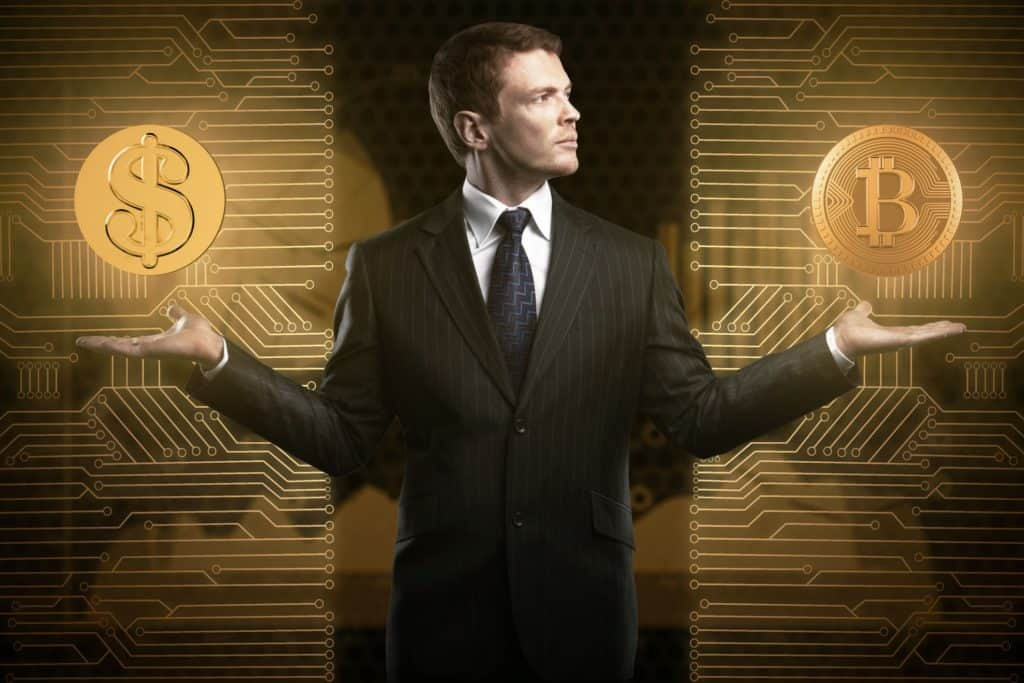 Businessman in suit balancing dollar coin and bitcoin wondering about problems with cryptocurrency